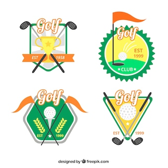 Collection of colorful golf labels