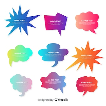 Collection of colorful gradient speech bubbles