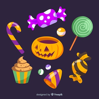 Collection of colorful halloween candies