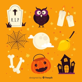 Collection of colorful halloween elements