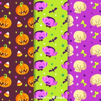 Collection of colorful halloween pattern