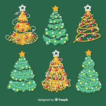 Collection of colorful hand drawn christmas tree