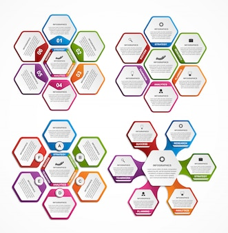 Collection of colorful hexagon for infographics.
