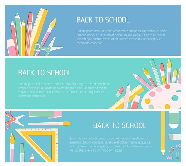 Collection of colorful horizontal web banner templates for back to school