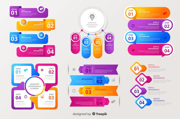 Collection of colorful infographic elements