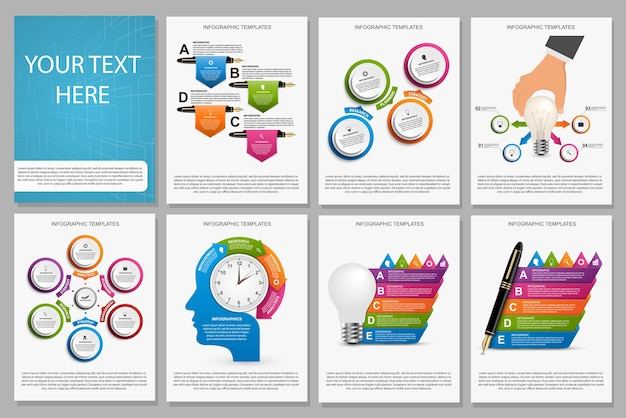 Collection of colorful infographics.