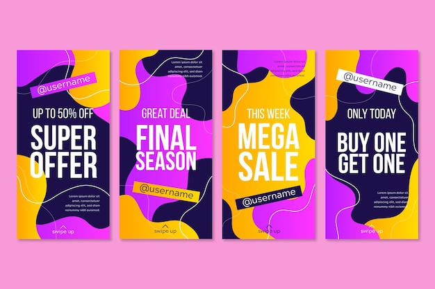 Collection of colorful instagram sale stories
