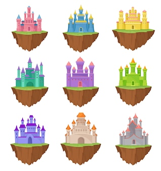 Collection colorful island castles on white background.