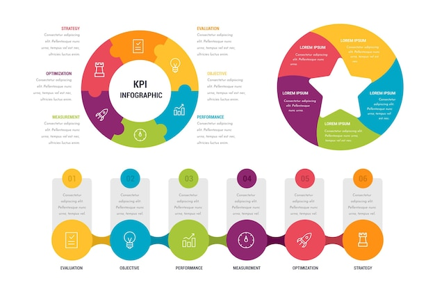 Collection of colorful kpi infographics
