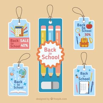 Raccolta di etichette colorate per tornare a scuola