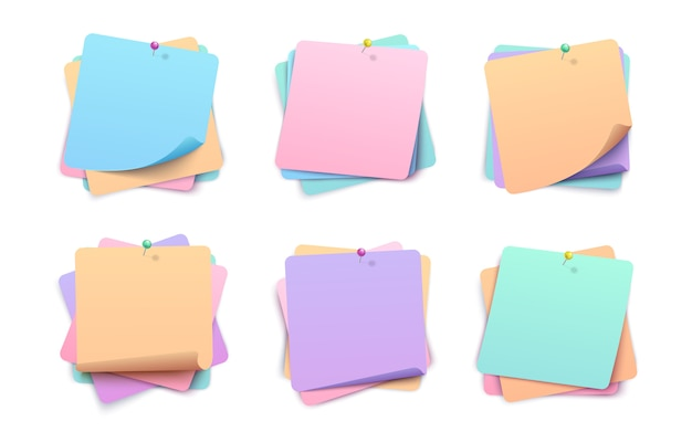 Collection of colorful layered paper stickers