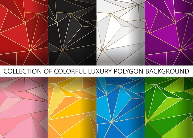 Collection of colorful luxury polygon artistic geometric with gold line background