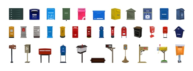 Collection of colorful mailboxes in detailed style.