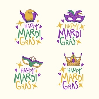 Collection of colorful mardi gras badges