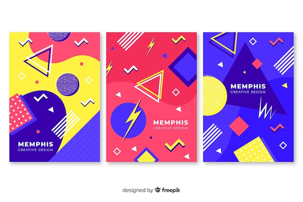 Collection of colorful memphis covers