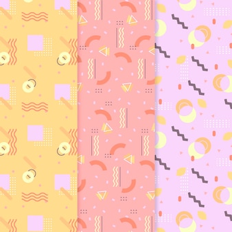 Collection of colorful memphis patterns