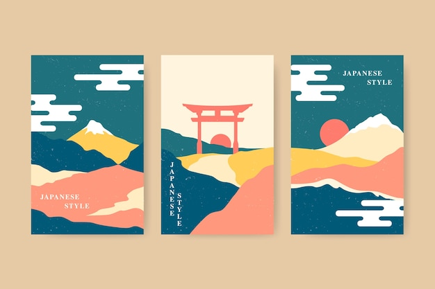 Collection of colorful minimalist japanese covers