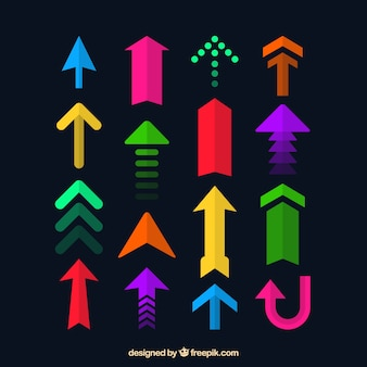Collection of colorful modern arrows