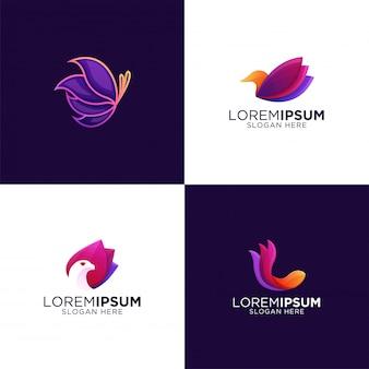Коллекция красочные современные роскошные животные бабочка. рыбы. премиум шаблон логотипа орла