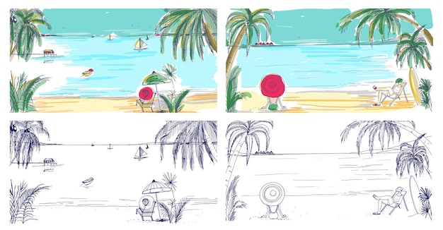 Collection of colorful and monochrome colored sketches with seaside landscapes. tropical resort with people relaxing on sand beach, exotic palm trees and sail boats floating in sea on horizon.