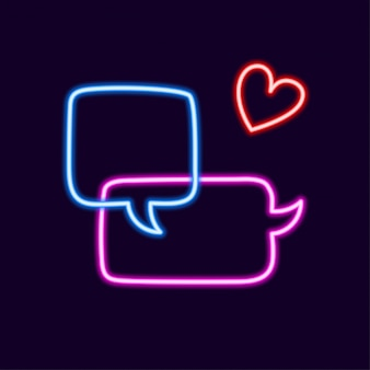 Collection of colorful neon speech bubbles with space for text