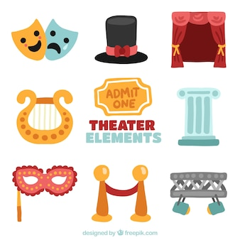 Collection of colorful objects for theater