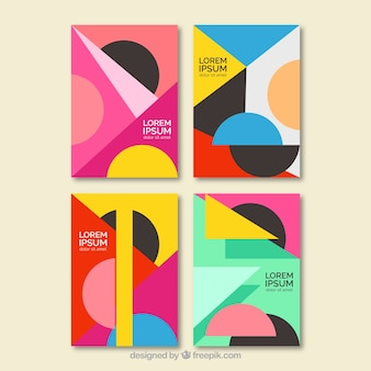 Collection colorful of covers with geometric shapes