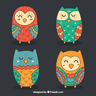 Collection of colorful owls