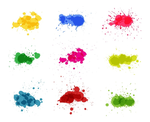 Collection of colorful paint splashes