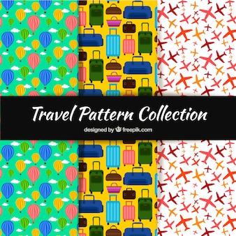 Raccolta di modelli colorati con oggetti di viaggio