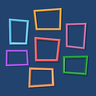 Collection of colorful photo frames hanging on the wall