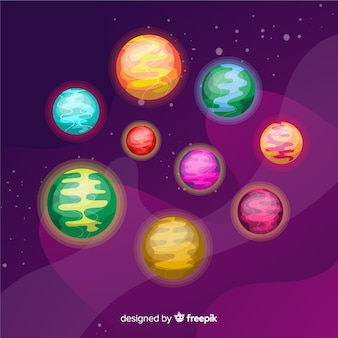 Collection of colorful planets from solar system
