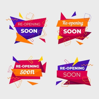 Collection of colorful re-opening soon labels