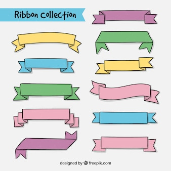 Collection of colorful ribbon hand drawn