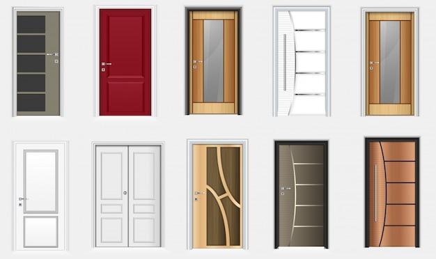Collection of colorful room doors icons