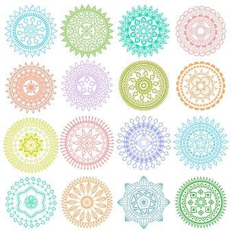 Collection of colorful round mandalas