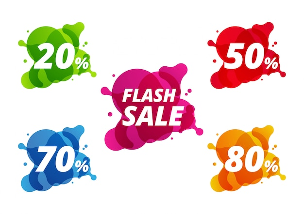 Collection of colorful sale discount banner