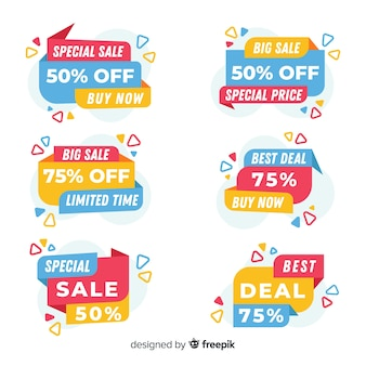 Collection of colorful sales banners