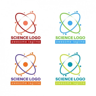 Collection of colorful science logo
