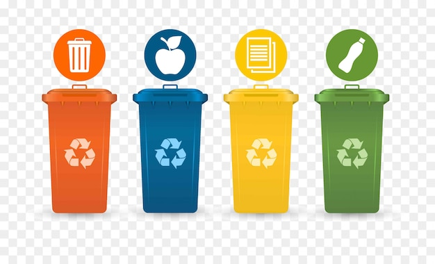 Collection of colorful separation recycle bin icon.