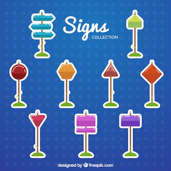 Collection of colorful sign stickers in flat design