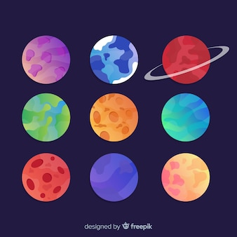 Collection of colorful solar system planets