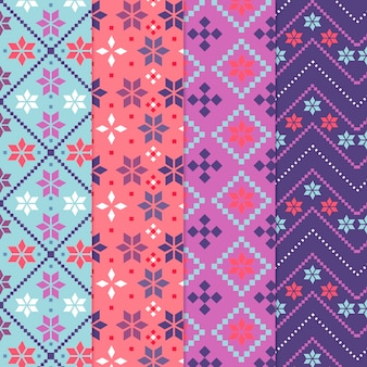 Collection of colorful songket pattern