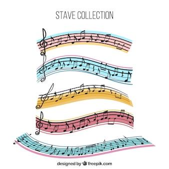 Raccolta di stanghe colorate con note musicali