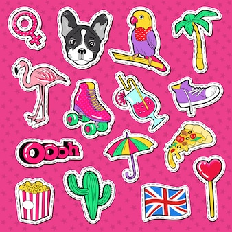Collection of colorful stickers