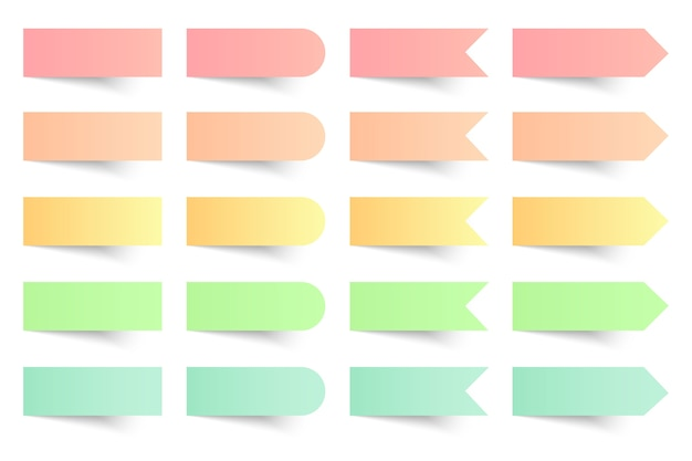 Collection of colorful sticky notes on white background.