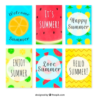 Collection of colorful summer cards