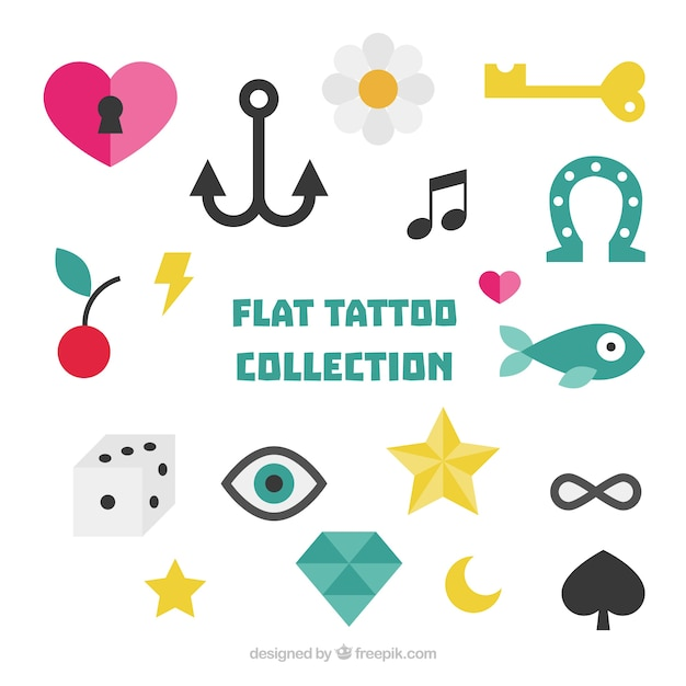 Collection of colorful tattoos in flat style