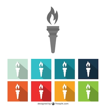 Collection of colorful torch icons
