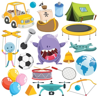 Collection of colorful toys and objects